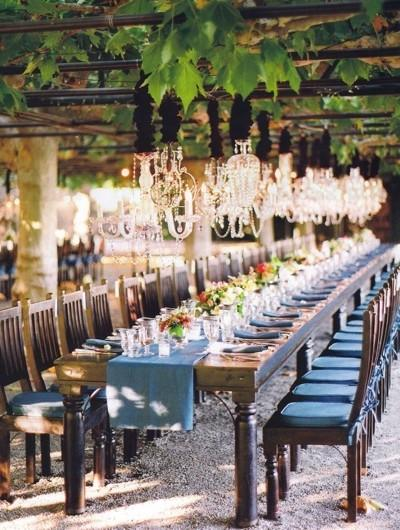 Wedding Table Decor: Blue Runners