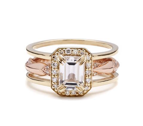 Anna Sheffield Attelage Emerald Cut Diamond Bridal Set, $11,000