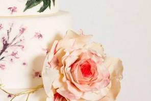Handpainted floral wedding cake