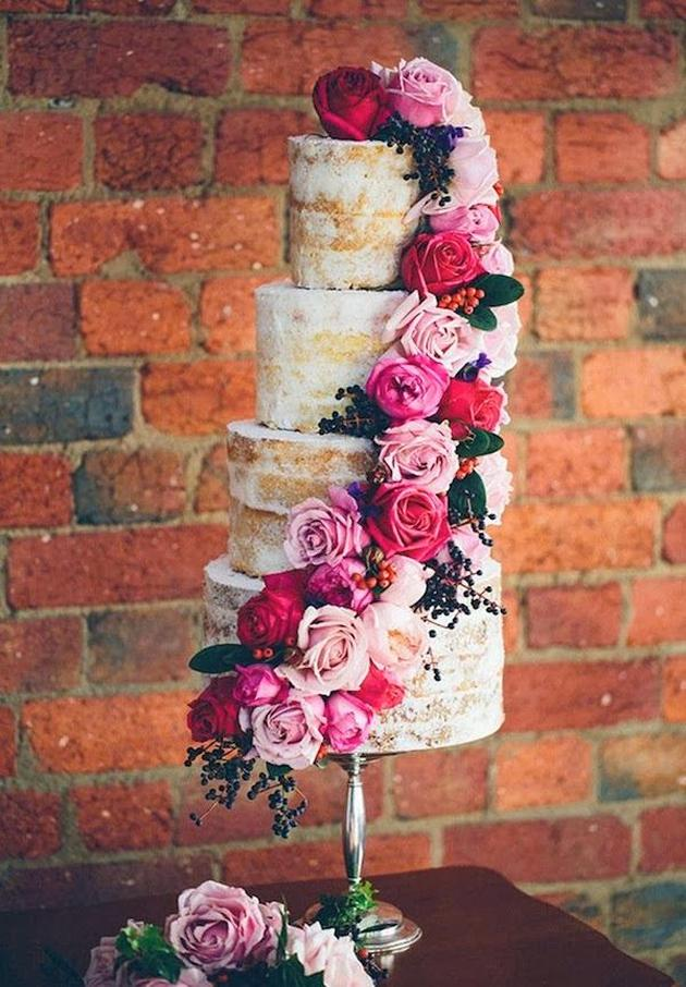 Naked wedding cake with roses, via Made from Scratch