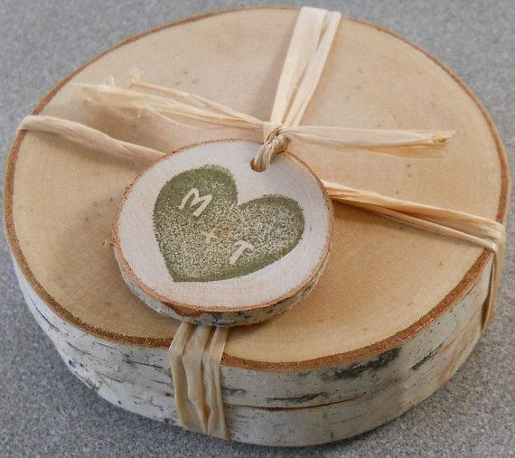 wood coaster wedding favor