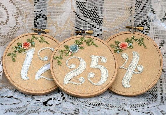 Embroidery hoop table numbers, $240