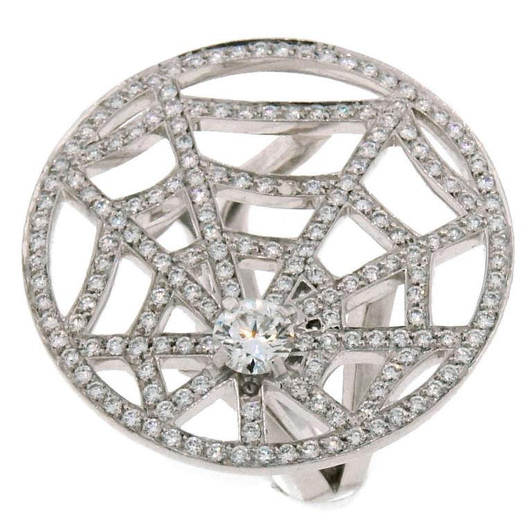 1990's CHAUMET Diamond & White Gold Spider Net Ring, $12,900