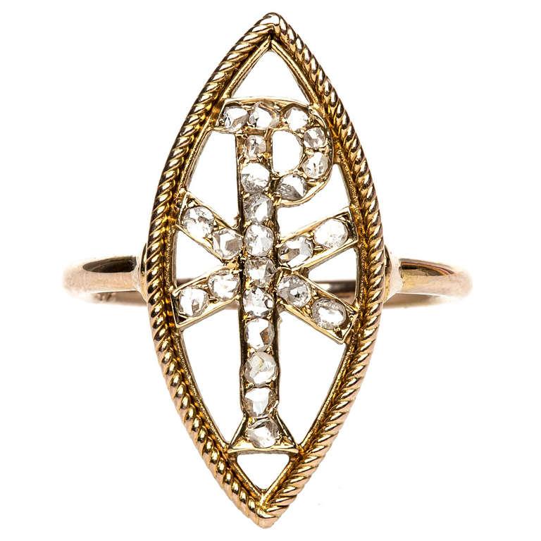 Diamond Gold Christogram Ring, $2,250