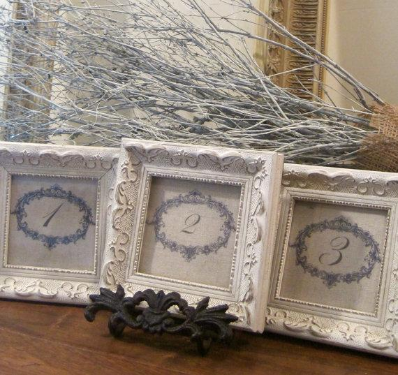 Shabby chic table numbers, $45 for set of 3