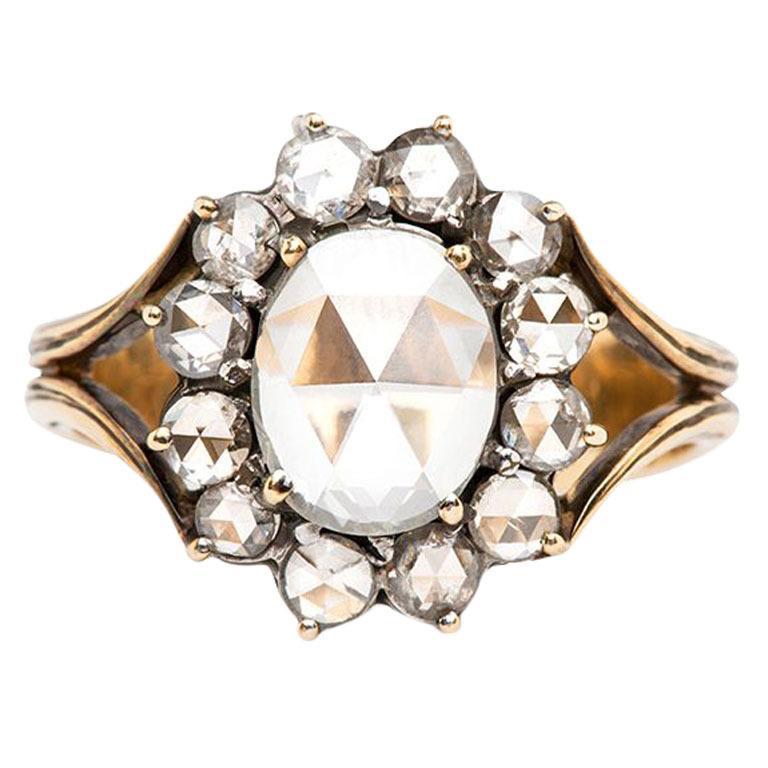 Rose Cut Diamond Victorian Engagement Ring, $11,500