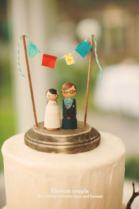 Custom hand-painted wedding cake topper, $75