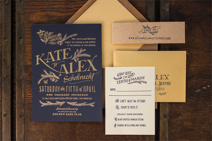 Ladyfingers Letterpress, Custom Navy and Gold Invitation Suite