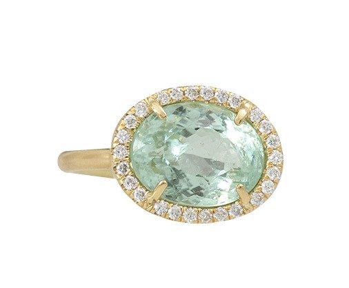 Green Tourmaline Ring With Diamond Pave by Irene Neuwirth