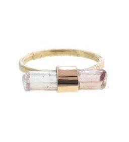 Pink tourmaline crystal stick ring by Melissa Joy Manning, $700