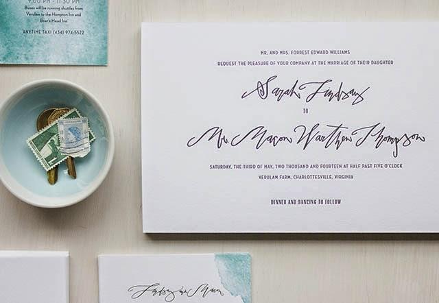 Betsy Dunlap, Watercolor Invitation Suite for MaeMae Paperie.