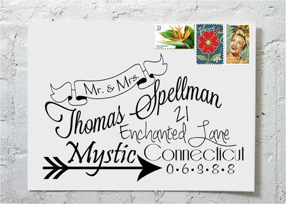 Gorgeous Wedding Envelope Calligraphy