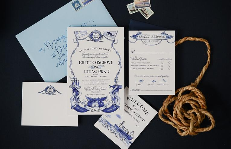 Antiquaria's Nantucket Watercolor Bespoke invitation suite. Prices for bespoke/custom designs start at $2,000 for 100 invitations