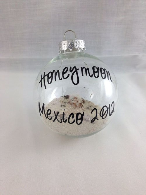 Take Some Sand From Your Wedding Or Honeymoon Location To Make First Christmas Ornament As A Married Couple Cheesy But Cute Beach