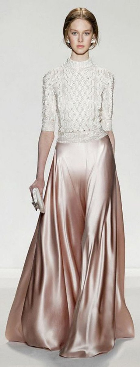Designer Jenny Packham combines a pink metallic silk skirt with a lightweight sweater for a look your bridesmaids (or you!) will love.