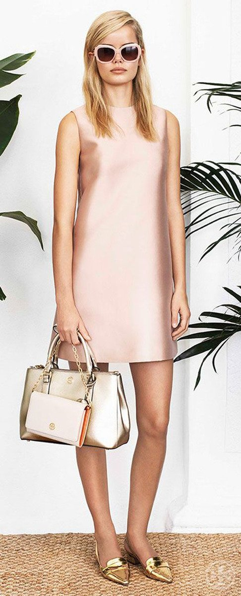 This metallic pink Tory Burch dress would be amazing as a bridesmaid dress or for your rehearsal dinner or day-after brunch.