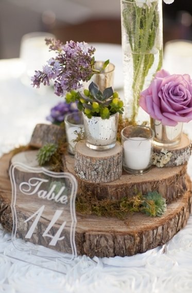 A subtle touch of purple works every time. We love flowers in varying hues for a simple and rustic touch.
