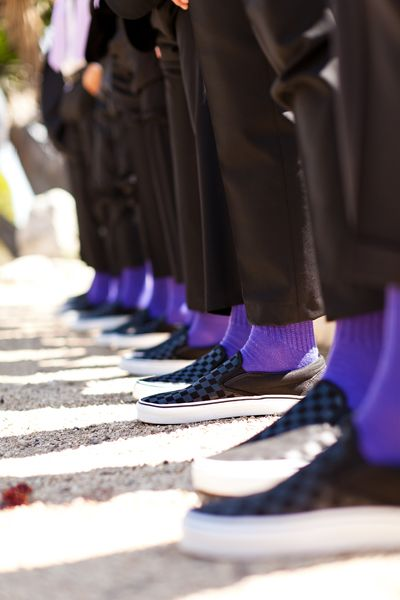 Have your groom and groomsmen wear matching purple socks (I love the sneakers, too!).
