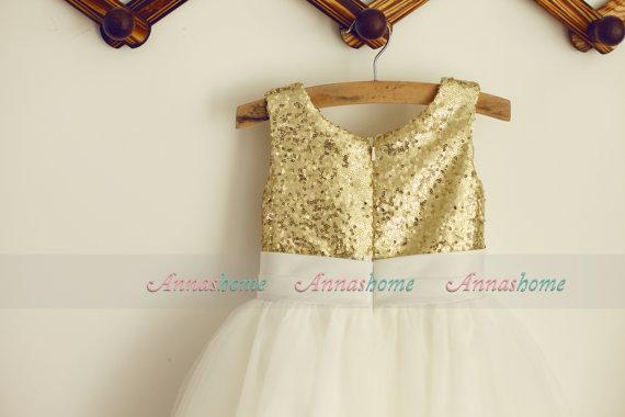14 adorable flower girl dresses gold sequin ivory tulle flower girl dress by annashome 43 mightylinksfo