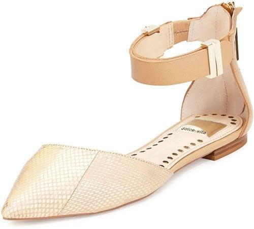 Dolce Vita Agusta Metallic Snake-Embossed Ankle-Wrap Flat, Gold • $59.50