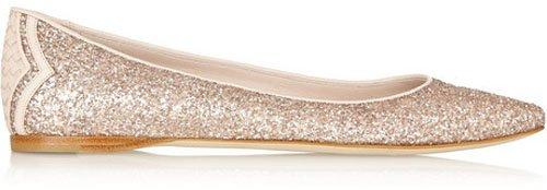 Bottega Veneta Glitter-finished leather ballet flats • $590.00