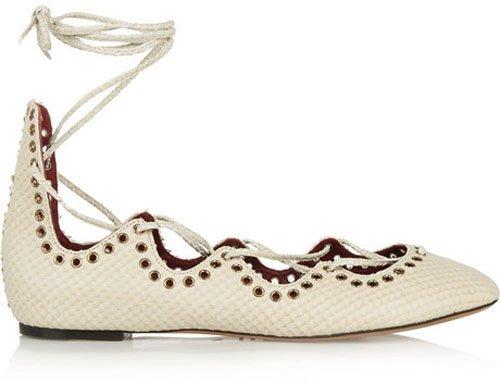 Isabel Marant Leo snake-effect leather ballet flats • $650.00