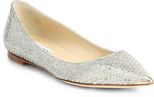 Jimmy Choo Alina Glitter Point-Toe Ballet Flats • $550.00