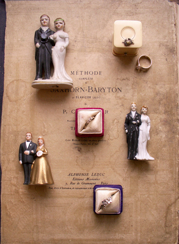 Porcelain Vintage Wedding Cake Topper by Copper and Tin, $82