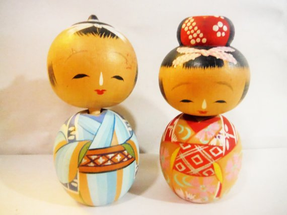 Vintage Kokeshi wedding wedding cake topper man and woman bobbleheads by Soutcentric,