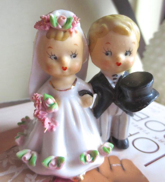 Vintage 1950's Lefton Bride and Groom Wedding Cake Topper, $35