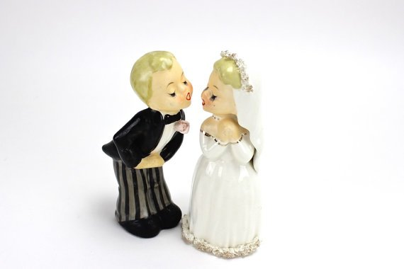 MINT Vintage Wedding Cake Topper, Napco Bride and Groom Figurines by UnderTheSycamores, $96