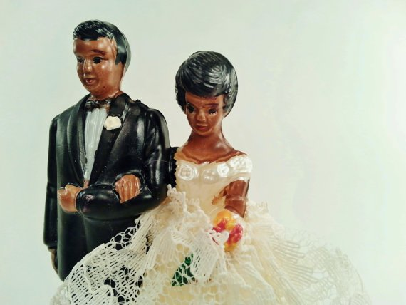 Vintage Wedding Cake Topper African-American Bride and Groom, by hopsack, $10