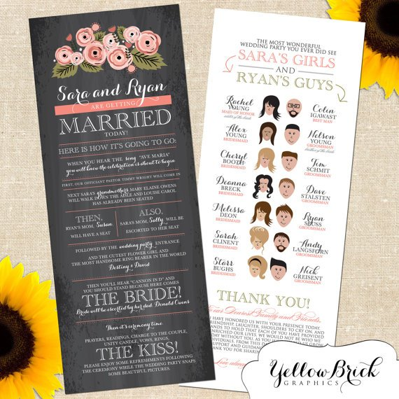 Rustic Sara Wedding Program With Cartoon Illustration By YellowBrickGraphics 40 For A Digital File