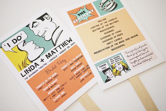Retro Comic Wedding Program Printable by 3EggsDesign, $55