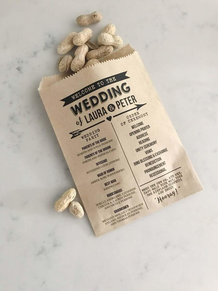 wedding program craft bag