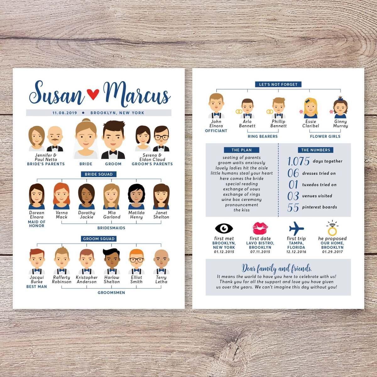 wedding party custom program