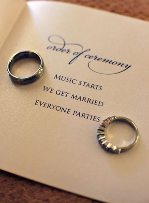 Short and to the point= my kind of wedding program. Photo via Becker Photographer