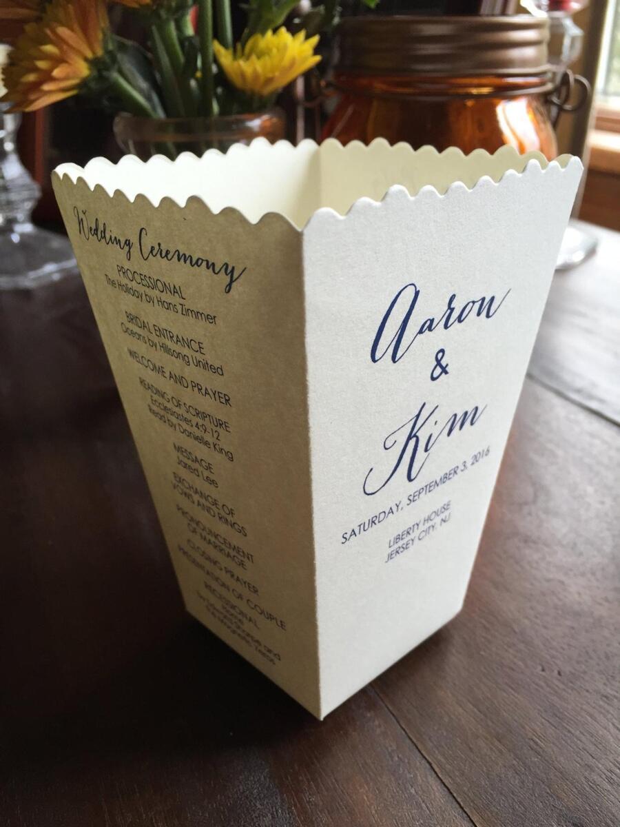wedding program popcorn