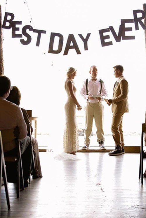 You can find a similar Best Day Ever sign on Etsy, like this one for $45