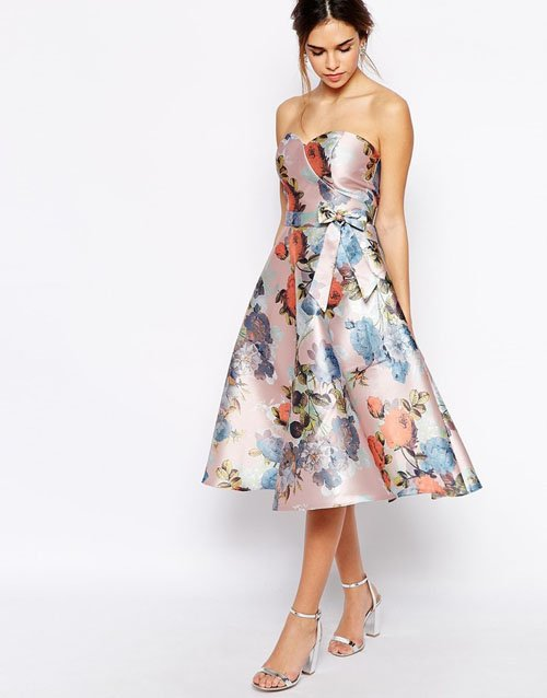 d5878f7541c4 Chi Chi London Bandeau Debutant Midi Skater Dress In Floral Print • $108