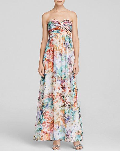 AQUA Gown - Strapless Print • Aqua • $268