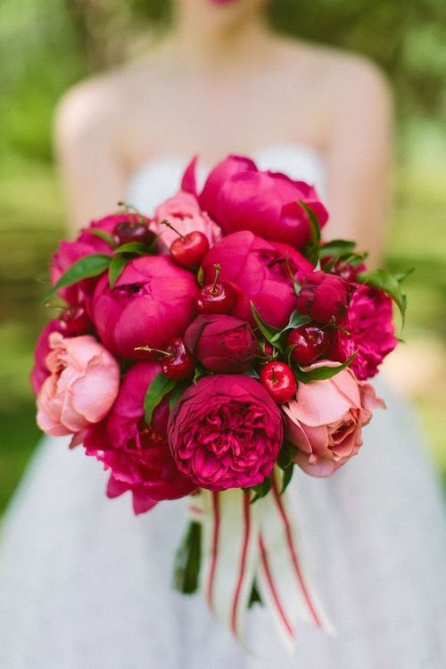 For Wedding Bouquets You Can Go Bright And Bold I Love The Cherries Added In