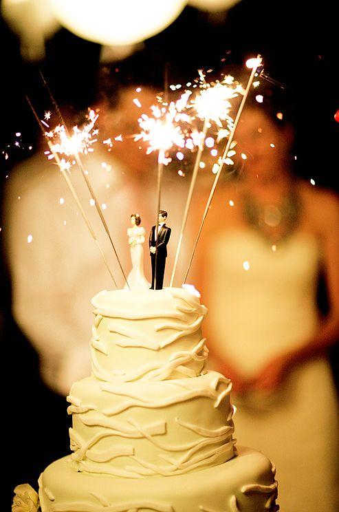 sparkler wedding cake topper