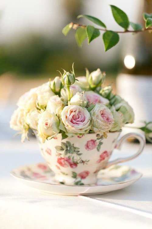 Teacup Centerpieces Via The Cottage Market