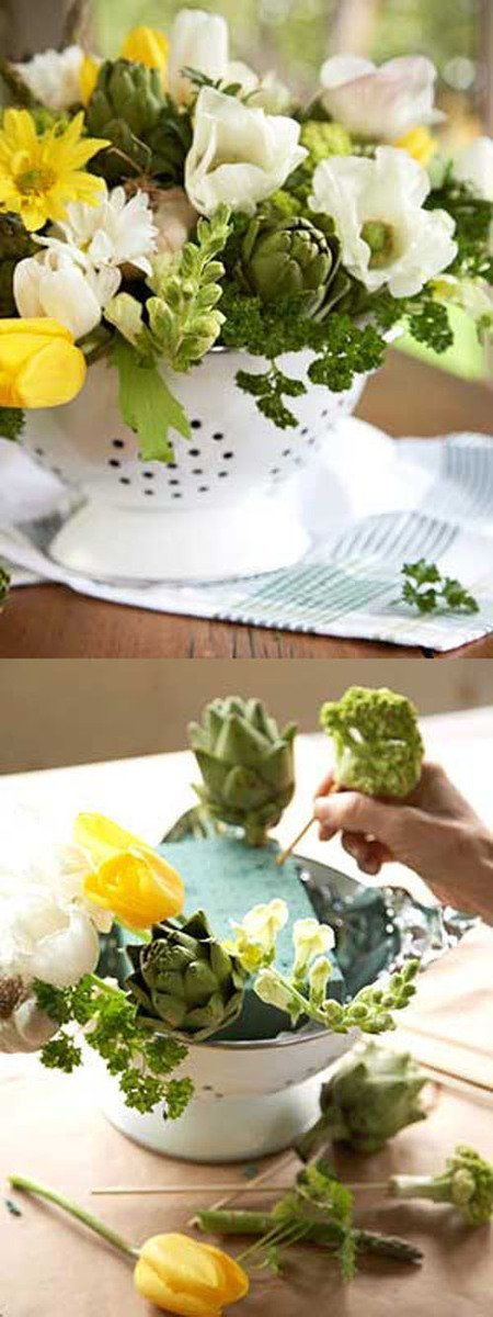 Im Seriously Going To Try This DIY Centerpiece At Home Using A Colander How Fun Is For An Outdoor Spring Wedding