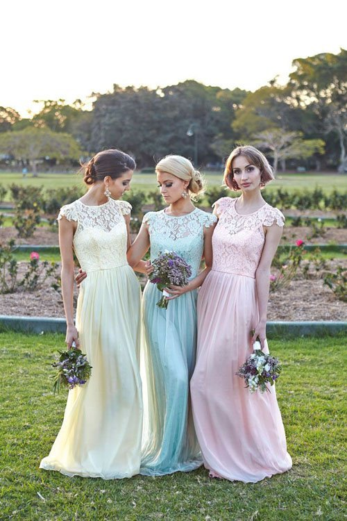 29 breathtaking spring wedding ideas woman getting married pastel bridesmaid dresses by tania olsen junglespirit Choice Image