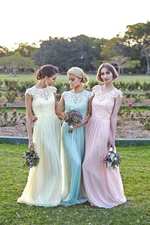 Pastel bridesmaid dresses by Tania Olsen
