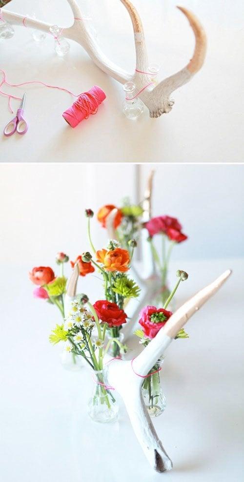 Antler flower display via A Subtle Revelry