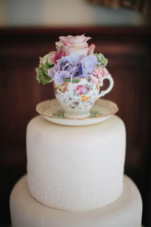 teacup wedding cake topper