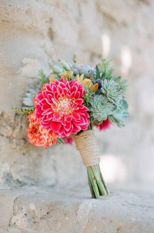 Wedding Flowers Dahlias Woman Getting Married
